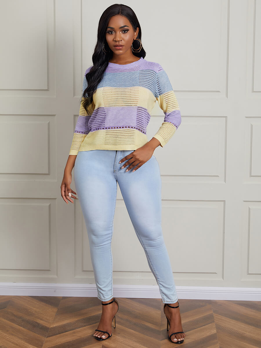 Lovely Casual O Neck Color-Block Stitching Hollow-