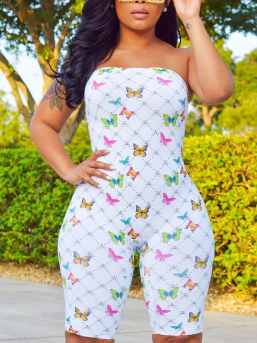 Lovely Casual O Neck Butterfly Print White Plus Si
