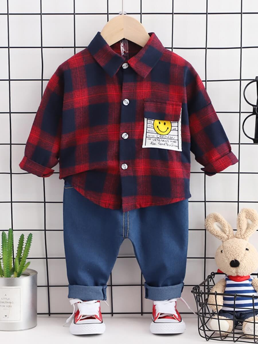 Lovely Casual Plaid Print Red Boy Two Piece Pants