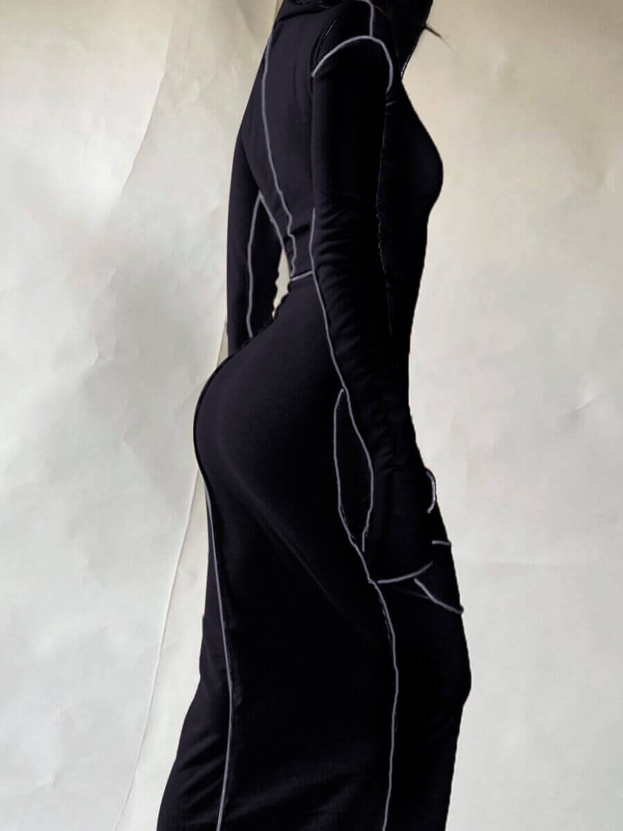 Lovely Casual Hooded Collar Basic Skinny Black Mid