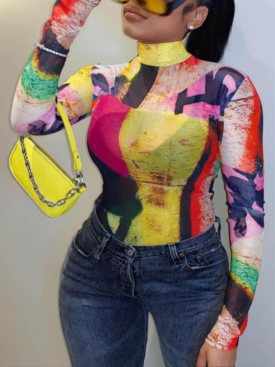 LW Plus Size Street Turtleneck Color-lump Print Multicolor T-shirt