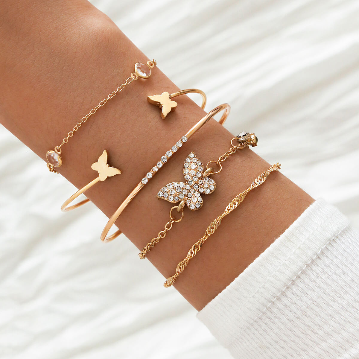Lovely Bohemian 5-piece Gold Bracelet