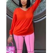 Lovely Trendy V Neck Basic Orange T-shirt