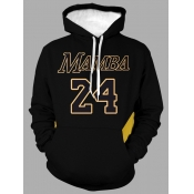 Lovely Leisure Hooded Collar Letter Print Black Men Hoodie