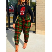 Lovely Casual Turtleneck Plaid Print Christmas Day