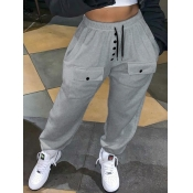 Lovely Casual Pocket Patched Grey Pants