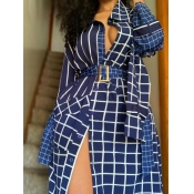 Lovely Stylish Turndown Collar Grid Print Blue Trench Coat