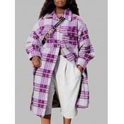 Lovely Trendy Turndown Collar Grid Print Purple Tr