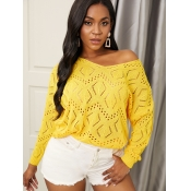 Lovely Chic V Neck Pierced Yellow Sweater