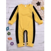 Lovely Trendy O Neck Patchwork Yellow Boy One-piec