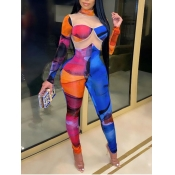 Lovely Sexy Print See-through Patchwork Blue One-piece Jumpsuit