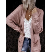 Lovely Casual Pocket Patched Pink Cardigan