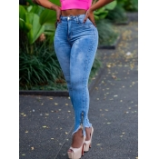 Lovely Trendy Skinny Zipper Design Baby Blue Jeans