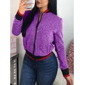 Lovely Trendy Zipper Design Purple Coat