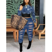Lovely Street Hollow-out Patchwork Blue Two Piece Pants Set