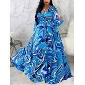 Lovely Trendy V Neck Striped Print Blue Maxi Plus