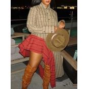 Lovely Fashion Plaid Patchwork Asymmetrical Brown