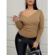 Lovely Casual Cross-over Design Khaki Sweaters