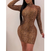 Lovely Casual Leopard Print Brown Mini Dress