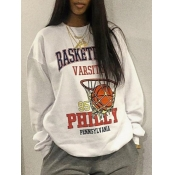 Lovely Casual O Neck Letter Print White Hoodie