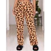 Lovely Home Style Leopard Print Drawstring Pants