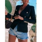 Lovely Formal Button Pocket Design Black Blazer