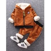 Lovely Sportswear Hooded Collar Striped Brown Boy