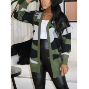 Lovely Trendy V Neck Camo Print Army Green Cardigan