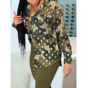 Lovely Formal Camo Print Sequined Army Green Blous