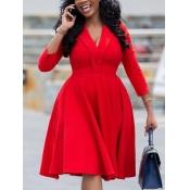 Lovely Formal V Neck Fold Design Red Knee Length A