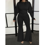 Lovely Casual Flared Puffed Sleeve Black Two Piece