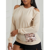 Lovely Chic Sequined Hollow-out Khaki Sweater
