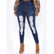 Lovely Street Broken Holes High-waisted Blue Jeans