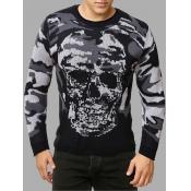 Lovely Casual Skull Camo Print Grey Men Sweater