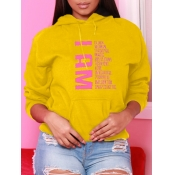 Lovely Leisure Hooded Collar Letter Print Yellow Hoodie