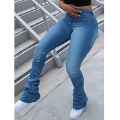 Lovely Casual Fold Design Skinny Baby Blue Jeans