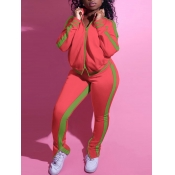 Lovely Sportswear Mandarin Collar Patchwork Pink Two Piece Pants Set