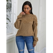 Lovely Chic O Neck Tassel Design Brown Sweater