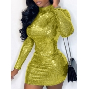 Lovely Trendy Half A Turtleneck Backless Sequined