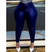 Lovely Street High-waisted Elastic Blue Pants