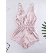 Lovely Home Style Lace Patchwork Pink Sleepwear
