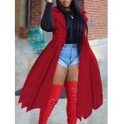 Lovely Stylish Turndown Collar Ruffle Design Red T