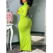 Lovely Casual Turtleneck Backless Grass Green Floo