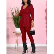 Lovely Casual V Neck Side Slit Red Two Piece Pants