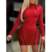 Lovely Chic Striped Mesh Patchwork Red Mini Dress