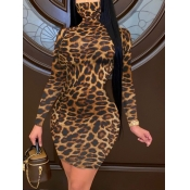Lovely Casual Leopard Print Patchwork Brown Knee L