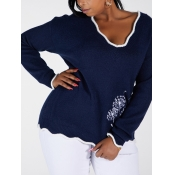 Lovely Casual V Neck Patchwork Dark Blue Plus Size