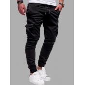 Lovely Casual Mid Waist Pocket Design Black Men Pa