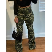 Lovely Sportswear Camo Print Army Green Pants