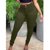 Lovely Casual Mid Waist Zipper Design Army Green P